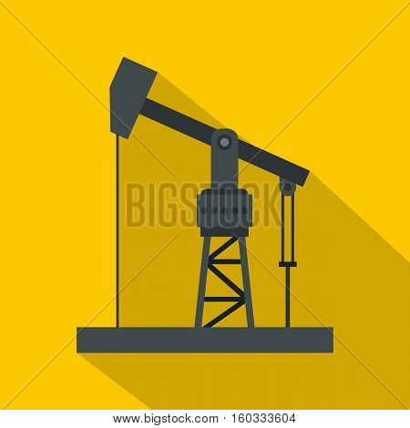 Oil industry equipment icon. Flat illustration of oil industry equipment vector icon for web isolated on yellow background