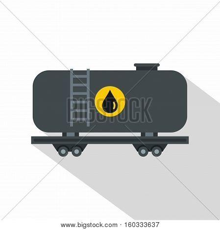Gasoline railroad tanker icon. Flat illustration of gasoline railroad tanker vector icon for web isolated on white background