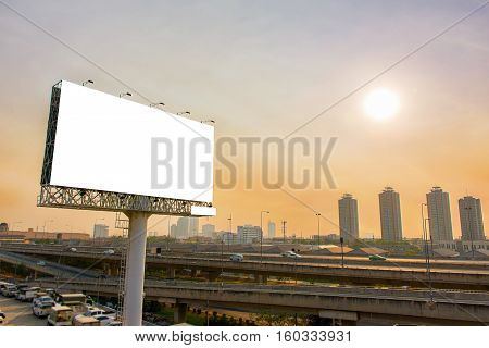 Billboard Or Advertising Poster On Highway For Advertisement Concept Background