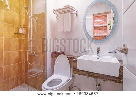 Bathroom Interior And Toilet In Modern Washroom