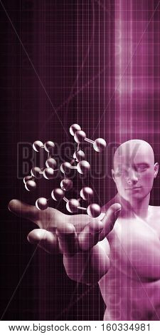 Science Professional Holding Molecule Structure in Hand 3d Render
