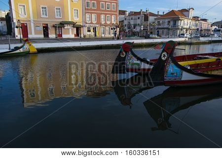 AVEIRO PORTUGAL - June 26 2016: Scenic view of central Aveiro Portugal. A popular tourist destination due to it's boats and local culture.