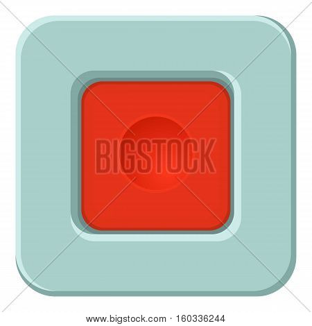 Red square button icon. Cartoon illustration of red square button vector icon for web