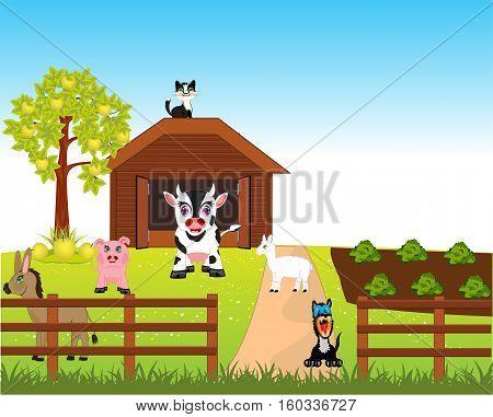 Much pets animal on rural farm.Vector illustration