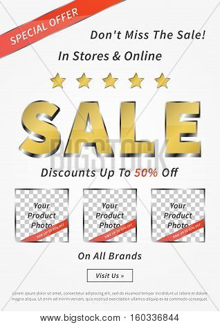 Banner Sale vector illustration. Creative banner Sale Discounts Up To 50 Off layout for m-commerce mobile promotions retail sale materials coupons advertising.
