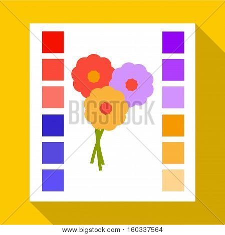 Printed sample with a palette of colors icon. Flat illustration of printed sample with a palette of colors vector icon for web isolated on yellow background