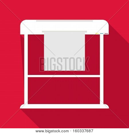 Large format printer icon. Flat illustration of large format printer vector icon for web isolated on baby blue background