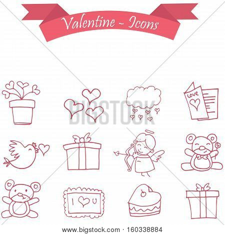 Vector illustration of valentine days collection stock