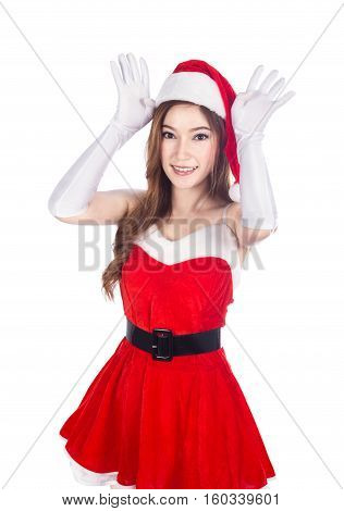 Beautiful Sexy Woman Wearing Santa Claus Clothes Acting Like A Reindeer Making Ears With Hands On Wh