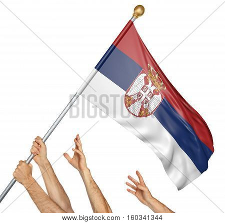 Team of peoples hands raising the Serbia national flag, 3D rendering isolated on white background