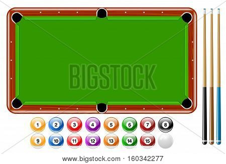 Vector illustration of billiards or pool game. Best for Sports, Leisure, Competition, Entertainment, Games concept.