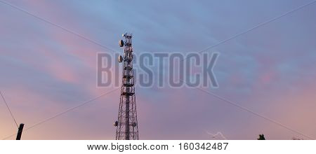 Radio Tower In Queensland During A Lightning Storm.