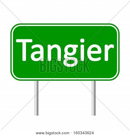 Tangier road sign isolated on white background.