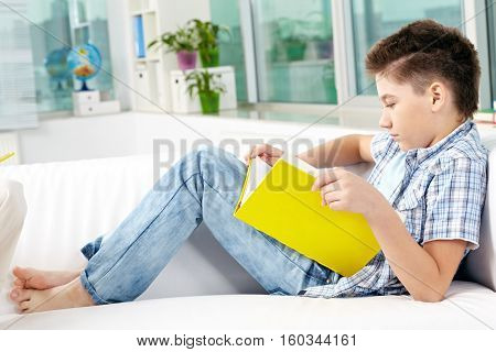 Cute little schoolboy sitting on sofa and reading book