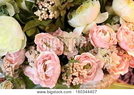 bouquet of pink artificial flowers - Interior decoration