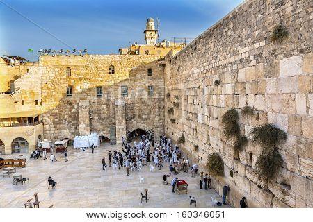 JERUSALEM, ISRAEL - NOVEMBER 18, 2016 Praying at the Western