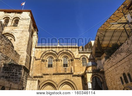 Church of the Holy Sepulchre Jerusalem Israel. Church expanded in 1114 to 1170 AD contains Jesus Tomb and Golgotha Crucifixion site. Church site of resurrection and crucifixion