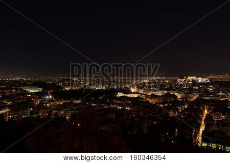 Athens Greece panoramic scenic night view of the city