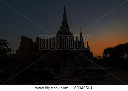 Amazing sunrise at Ayuttaya Temple in Thailand.
