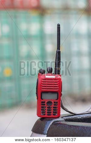 walkie-talkie radio on blur background ,red walkie-talkie radio.