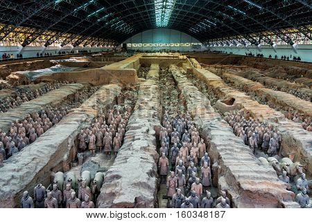 One Of Unesco Heritage Site;terra-cotta Warriors; Restored Terra Cotta Warriors In A Museum In Xian,