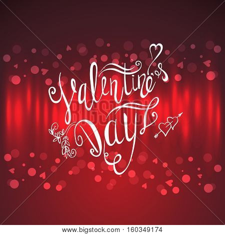 Valentines day lettering background. Hand Drawing Vector Lettering design. Red abstract celebration banner.
