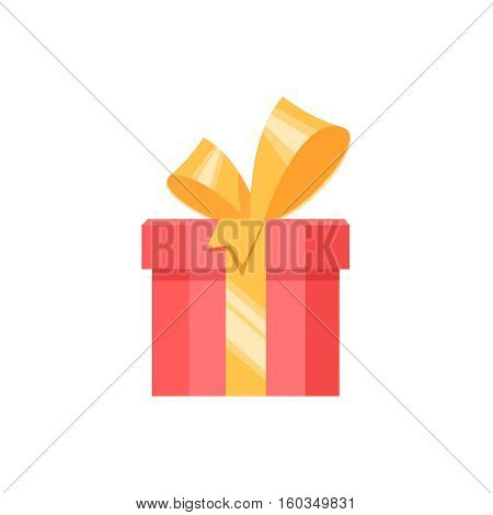 Red gift box present surprise with yellow bow on white background. Vector illustration element banner poster flyer greeting card