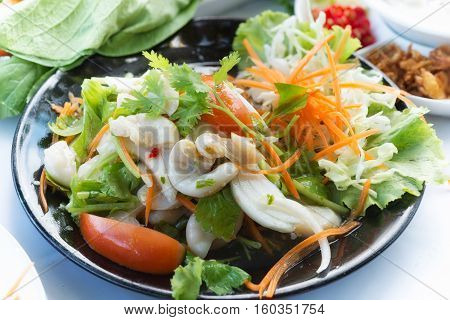 Yum Sai Tan Or Pork Chitterlings Salad Food Thai Style