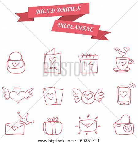Element valentine icons collection stock vector illustration