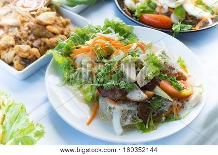 Yum Woon Sen Or Spicy Noodle Salad Food Thai Style