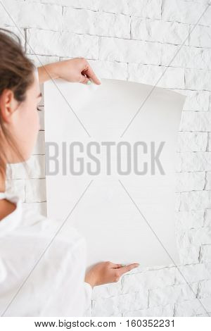 Paper Blank Poster Woman Message Text Advertisement Promo Warning Mockup Concept