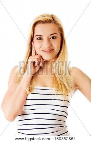 Portrait of thinking woman. Isolated on white background.