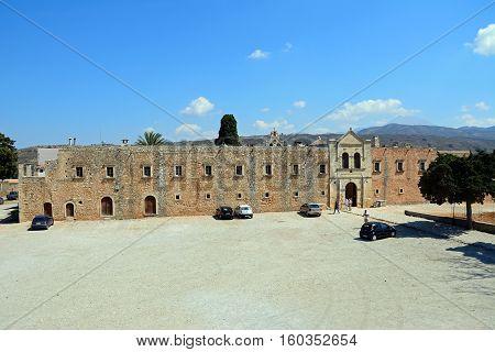 ARKADI, CRETE - SEPTEMBER 15, 2016 - Elevated view of the Western wall of the Arkadi Monastery Arkadi Crete Greece Europe, September 15, 2016.