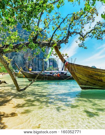 Boats On Phra Nang Beach, Thailand