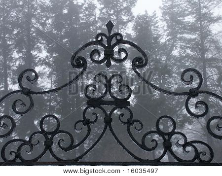 The top details of a gate awash in fog