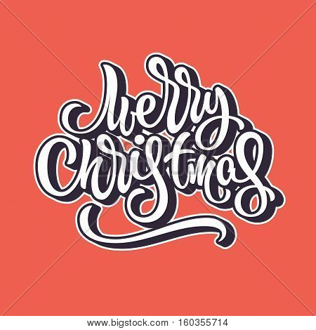 Merry Christmas, xmas brushpen lettering, calligraphy with outline and block blended shade for logo, design concepts, banners, labels, invitations, prints, posters, web. Vector illustration