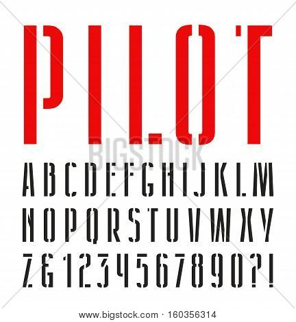 Narrow sanserif stencil-plate font. Isolated on white background