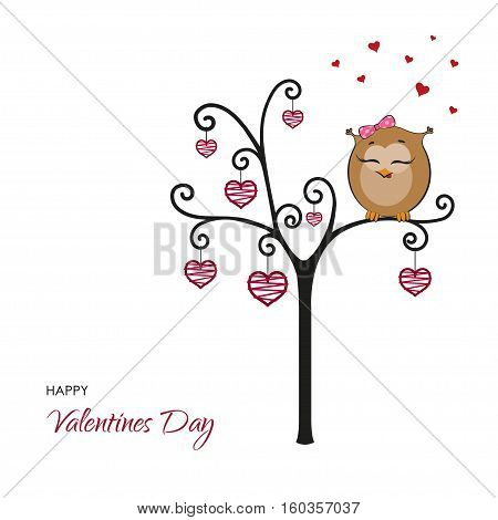 Postcard: Happy Valentines Day. Fanny owl on a tree with hearts. Vector illustration