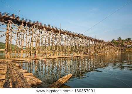 Wooded bridge over the river (Mon Bridge) in Sangkhlaburi District Kanchanaburi Thailand. And is a major tourist attraction of Thailand