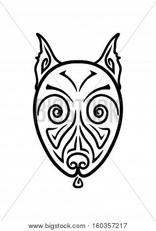 American Pit Bull Terrier Dog head stylized hand drawing Maori tattoo (Body art ethnic ornamental dog head pattern)