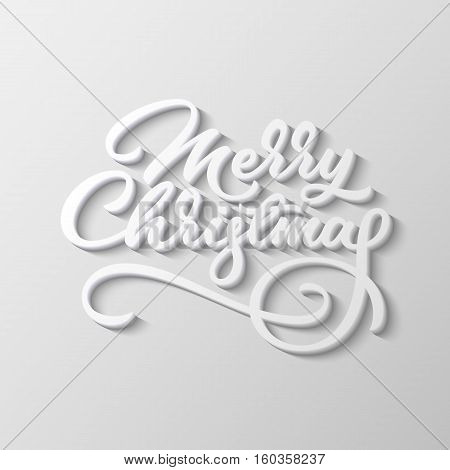 Merry Christmas, xmas badge with handwritten lettering, calligraphy with block blended shade and realistic shadow for logo, banners, labels, prints, posters, web. Vector illustration