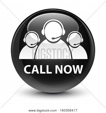 Call Now (customer Care Team Icon) Glassy Black Round Button