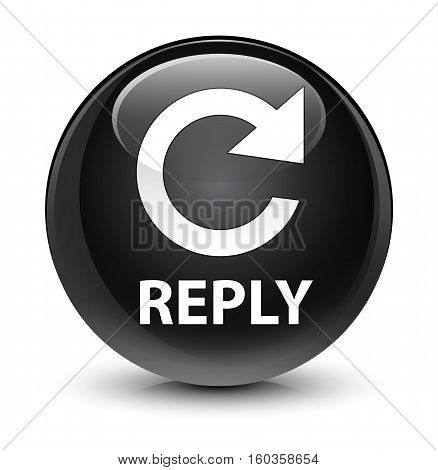 Reply (rotate Arrow Icon) Glassy Black Round Button