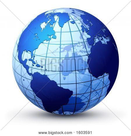 an illustration of the earth over a white background poster