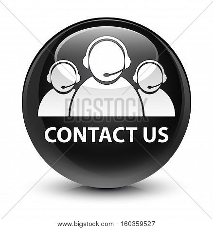 Contact Us (customer Care Team Icon) Glassy Black Round Button