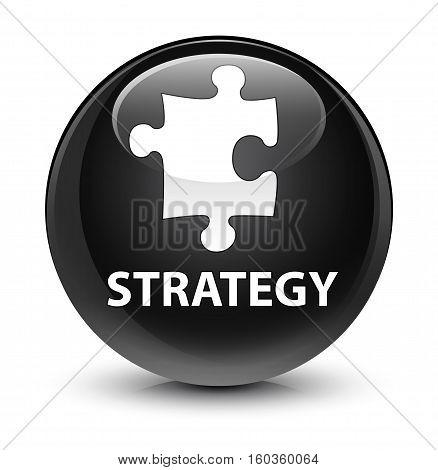 Strategy (puzzle Icon) Glassy Black Round Button