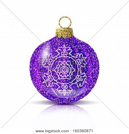 Isolated purple christmas ball with silver snowflake. Glitter sequins texture. Realistic decoration for christmas tree or new year. Brilliance sparkle. Reflection and shadow. Vector EPS10 illustration.