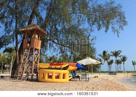 Phu Quoc, Vietnam - Apr 4, 2015: Life guard tower on the beach side in Vinpearl Luxury Phu Quoc resort. Phu Quoc island is one of the most favorite place to stay in Vietnam.