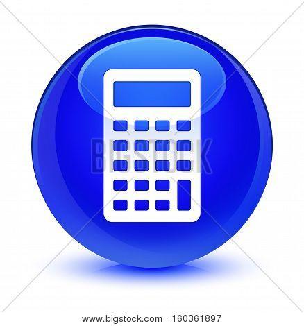 Calculator Icon Glassy Blue Round Button