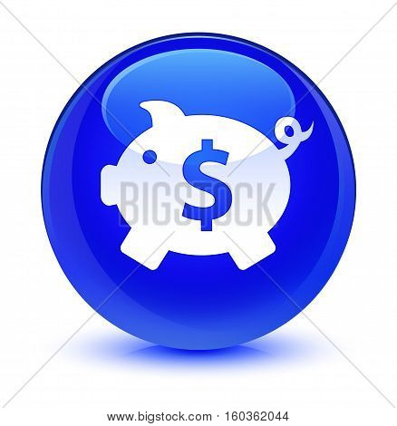 Piggy bank (dollar sign) icon isolated on abstract glassy blue round button